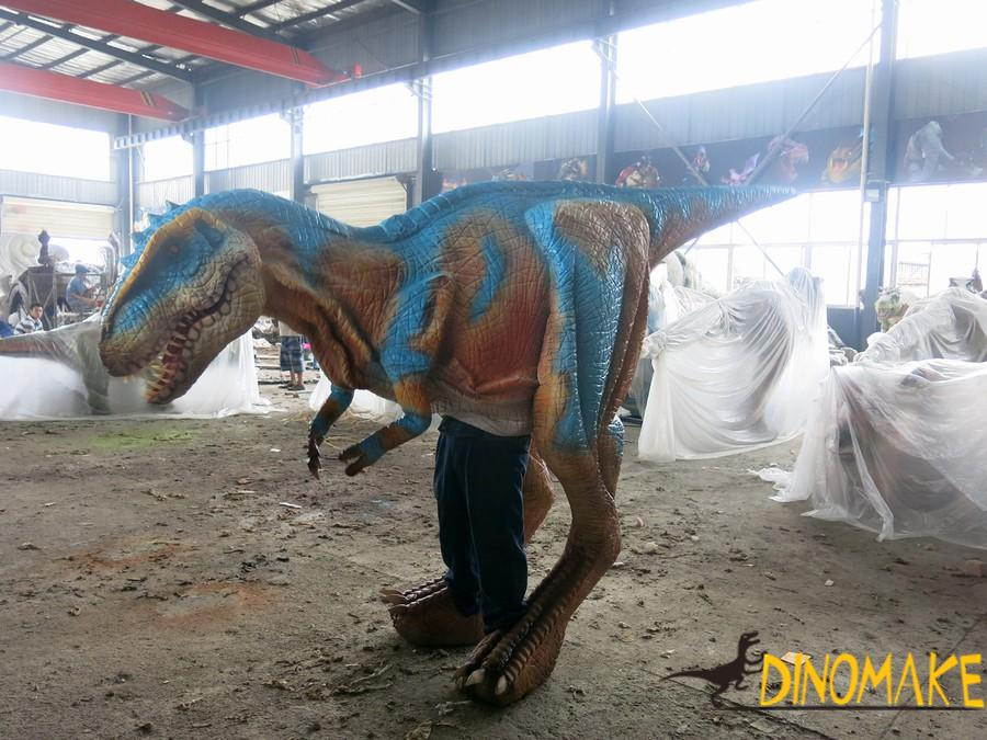 The realistic walking dinosaur costume of T-rex