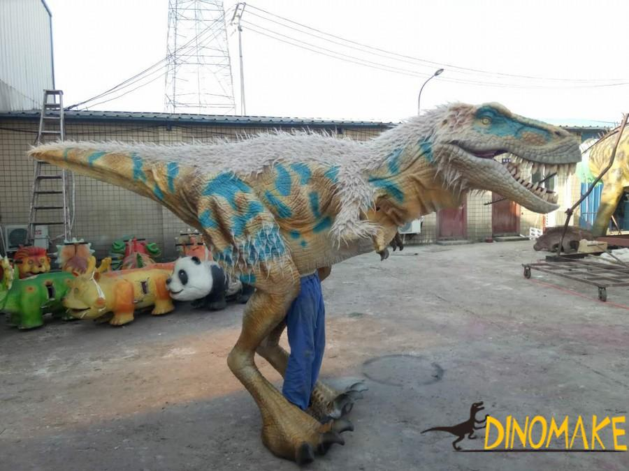 Walking in the park with Animatronic dinosaur costume