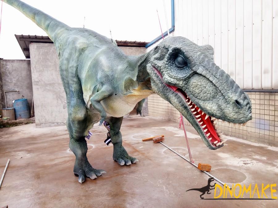 Walking with T-rex dinosaur costume in hidden legs
