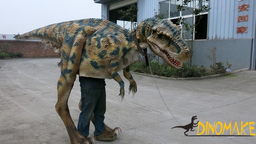 Walking with the dinosaur costume T-Rex
