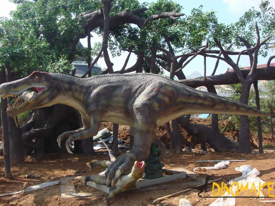 The imprint of a walking animatronic dinosaurs