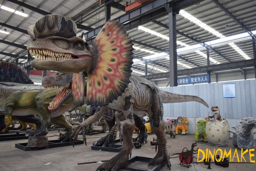 What materials are used to make animatronic dinosaur model