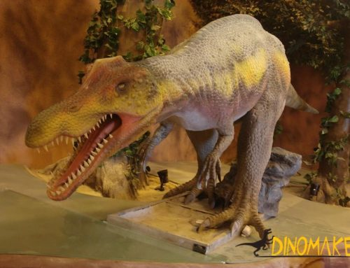 Reproduces a group of animatronic dinosaurs