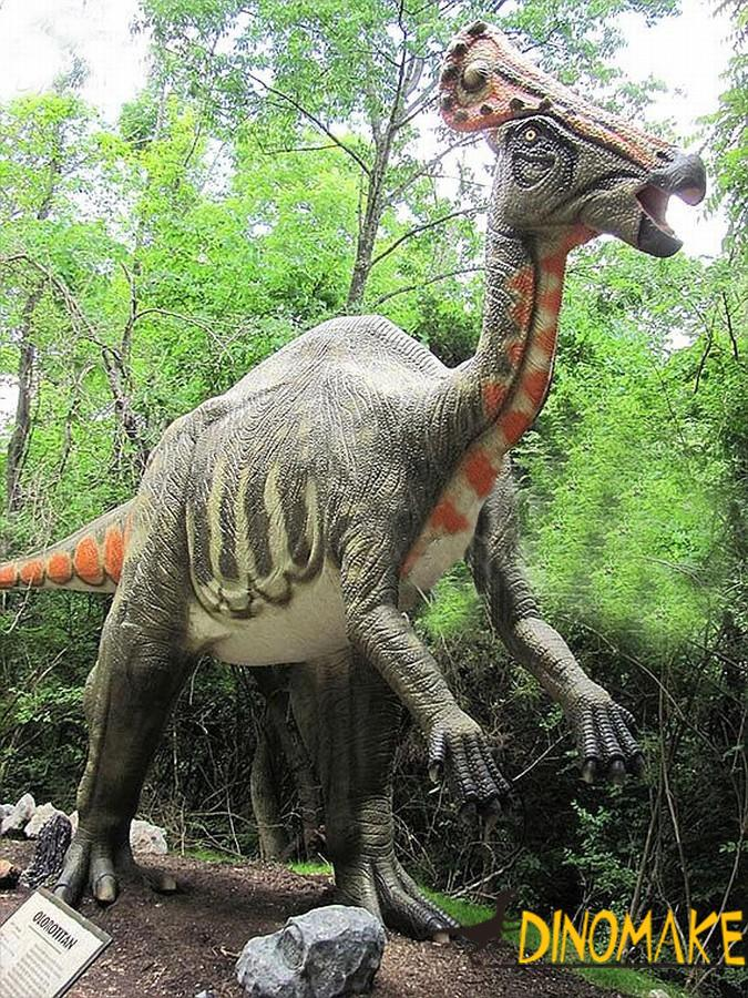 The animatronic dinosaur has a huge diplodocus