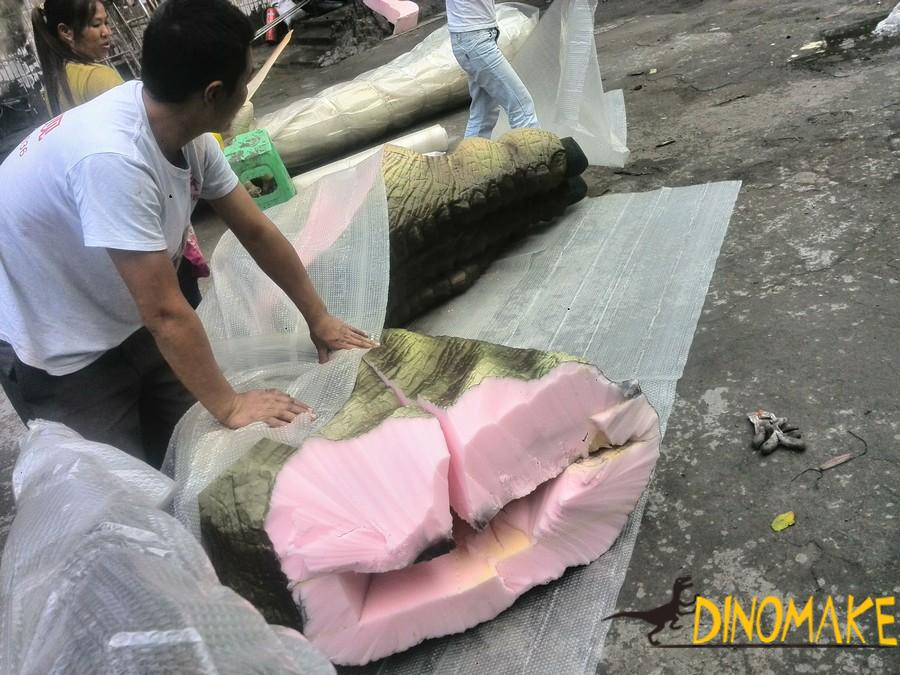 animatronic of dinosaur exterior materials